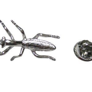 Silver Toned Praying Mantis Bug Insect Lapel Pin